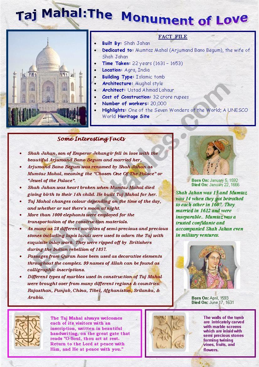 Taj Mahal The Monument Of Love Esl Worksheet By Ananthajyothi