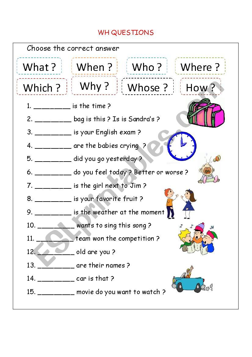 hight resolution of Wh questions - ESL worksheet by bloodsugar