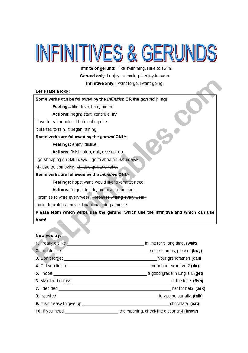 medium resolution of infinitive \u0026gerunds - ESL worksheet by lank