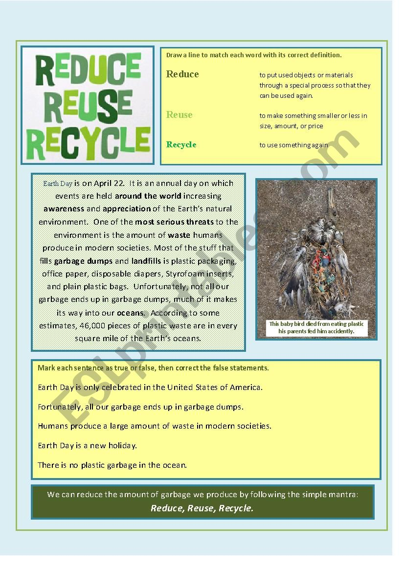 Esl Recycling Worksheets