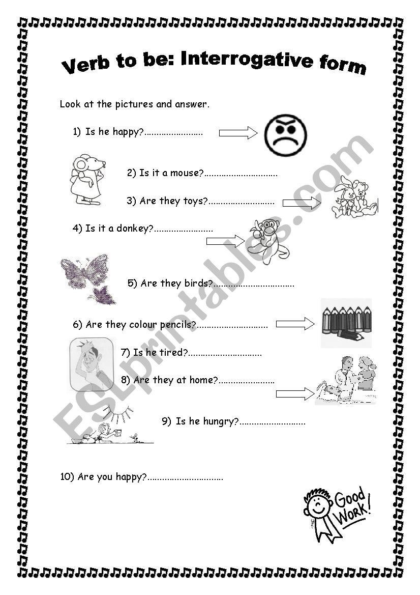 English worksheets: Verb to be: Interrogative form. Short