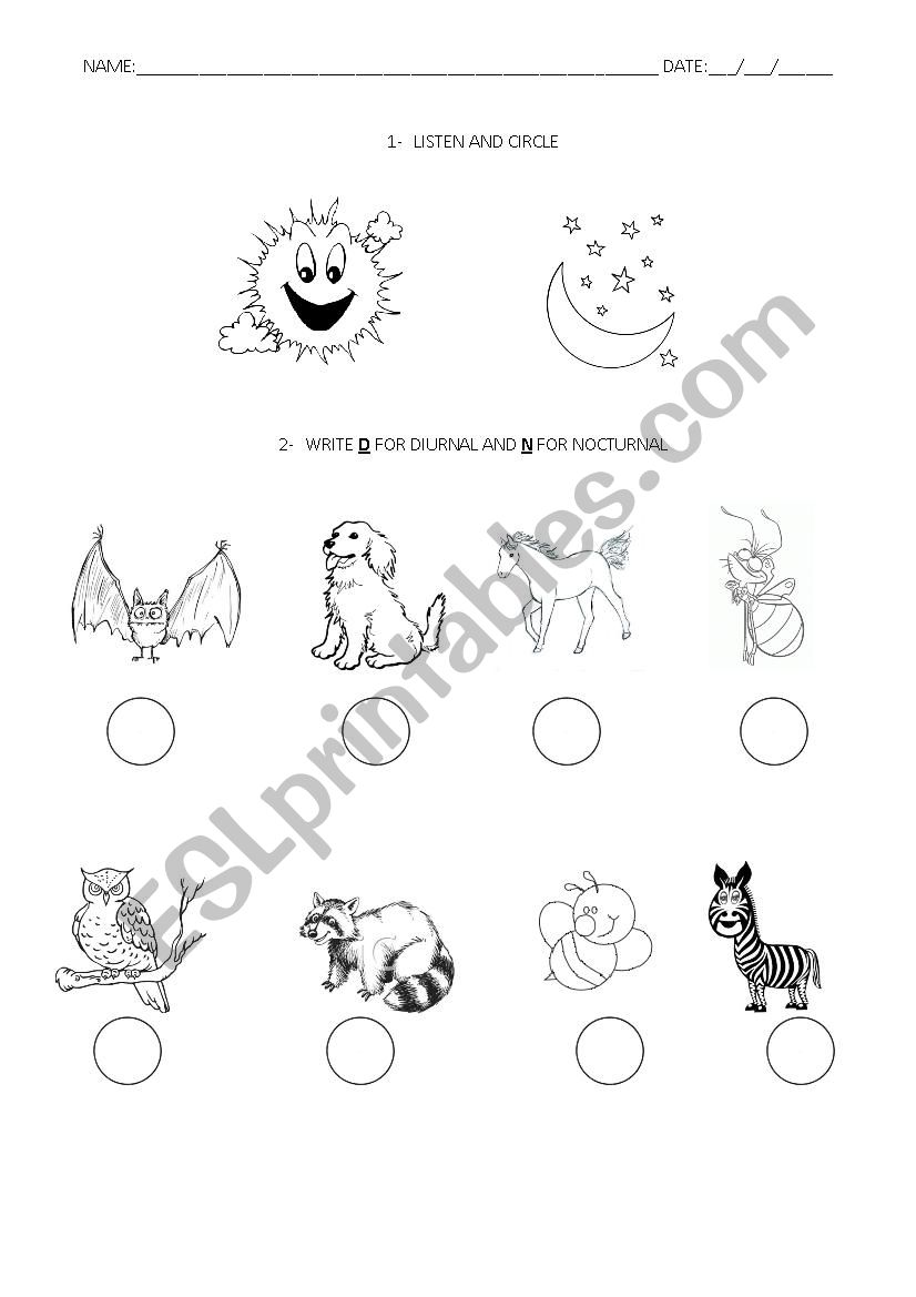 English worksheets: Listening: day, night, diurnal and
