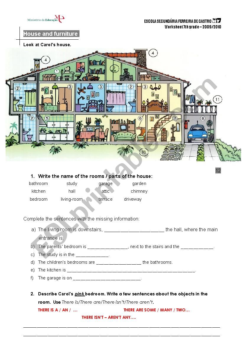 medium resolution of house and furniture - ESL worksheet by mbarreiros
