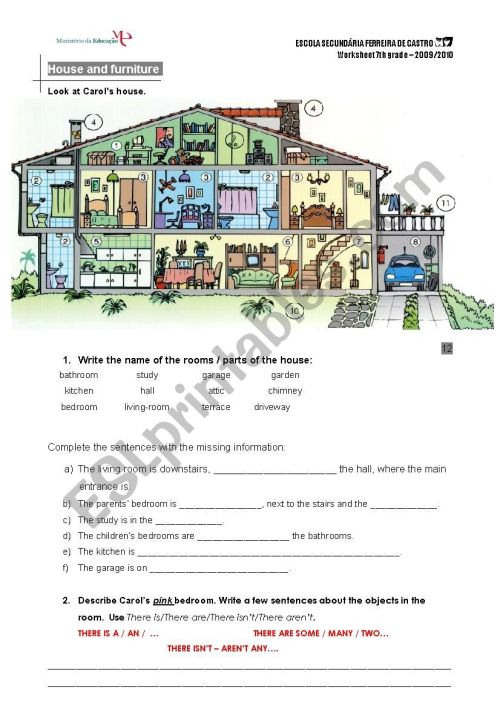 small resolution of house and furniture - ESL worksheet by mbarreiros