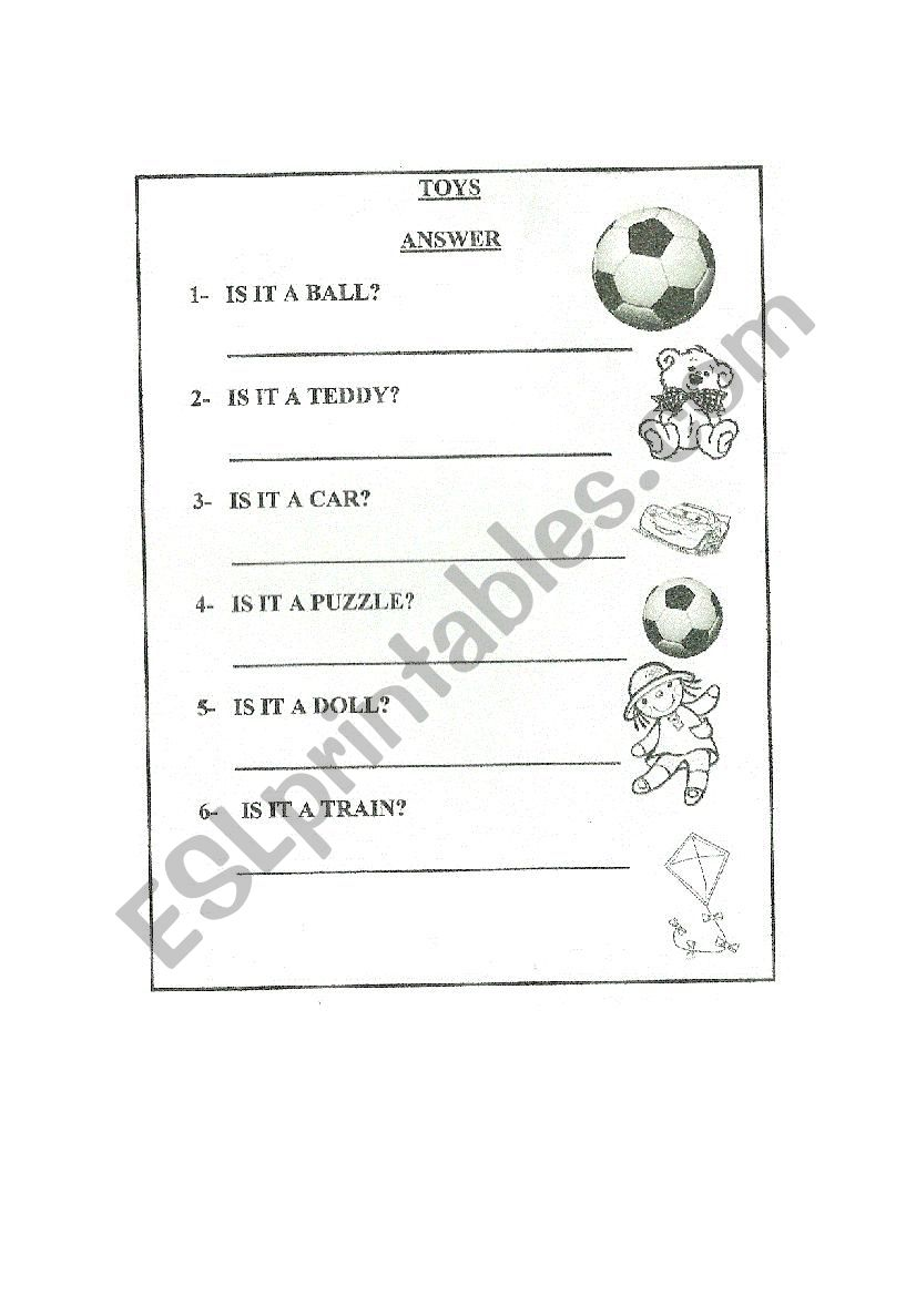 English worksheets: Toys. Questions. Is it...?