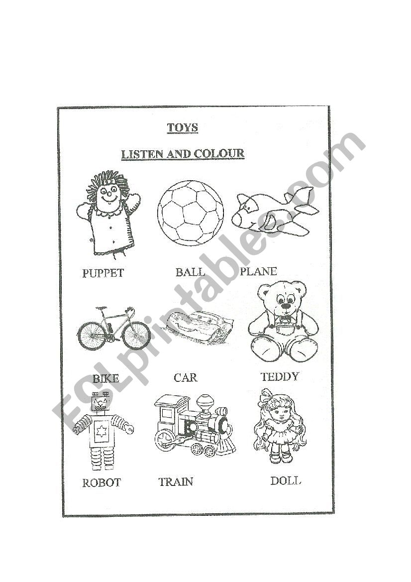 English worksheets: Toys. Listen and colour.