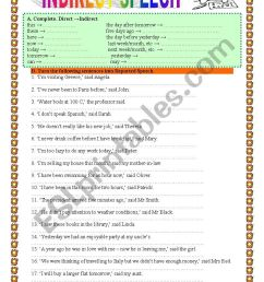 INDIRECT/REPORTED SPEECH 1- practice- 2 pages - ESL worksheet by veronika74 [ 1169 x 826 Pixel ]
