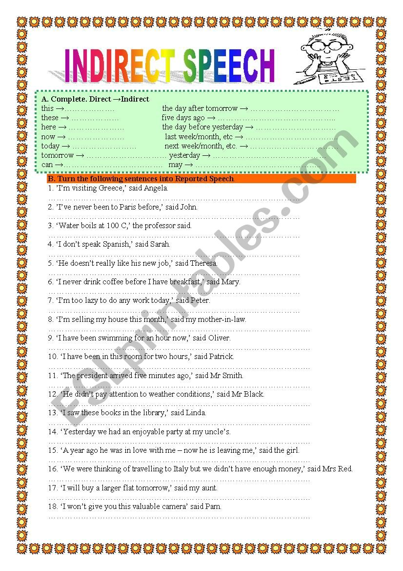 medium resolution of INDIRECT/REPORTED SPEECH 1- practice- 2 pages - ESL worksheet by veronika74