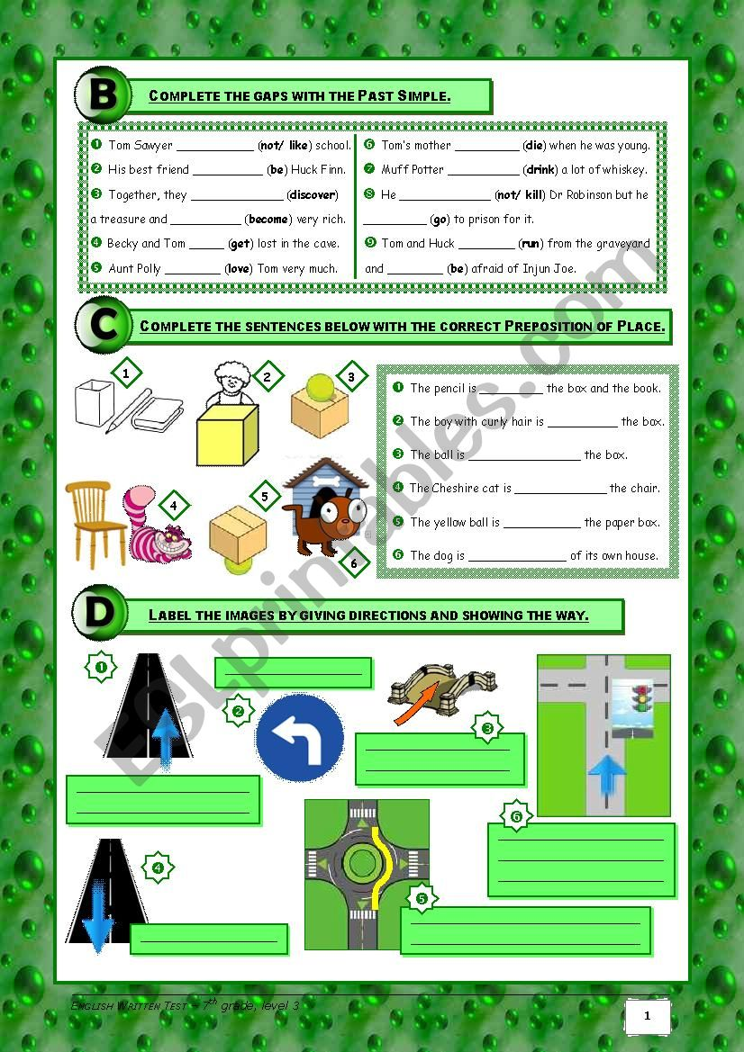 medium resolution of TEST Tom Sawyer+The House+Asking for Directions (7th grade) 3/3 +  correction - ESL worksheet by Orihime