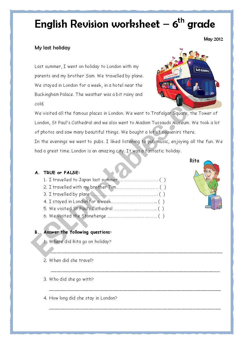 medium resolution of Past simple worksheet 6th grade - ESL worksheet by emartins