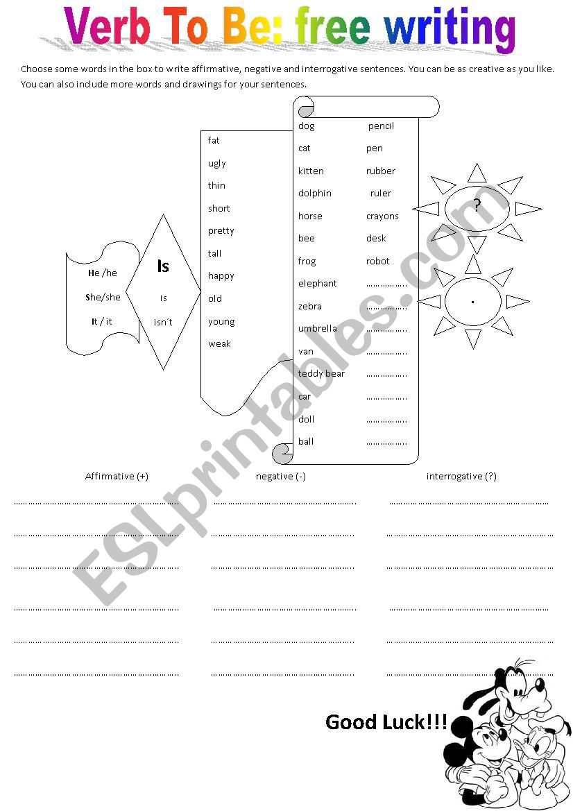 English worksheets: VERB TO BE affirmative / negative and