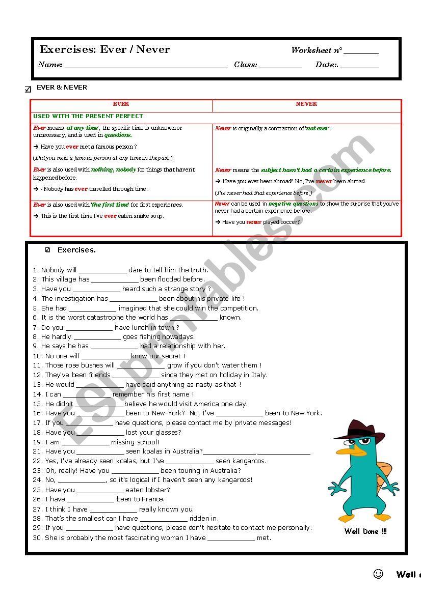 ever and never - ESL worksheet by Edu_Thoreau