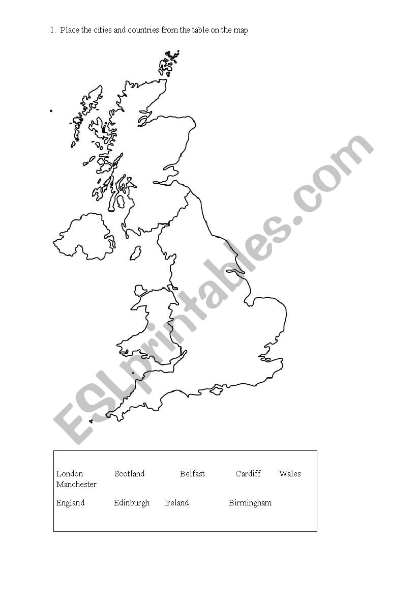 English worksheets: UK MAP (countries and cities)