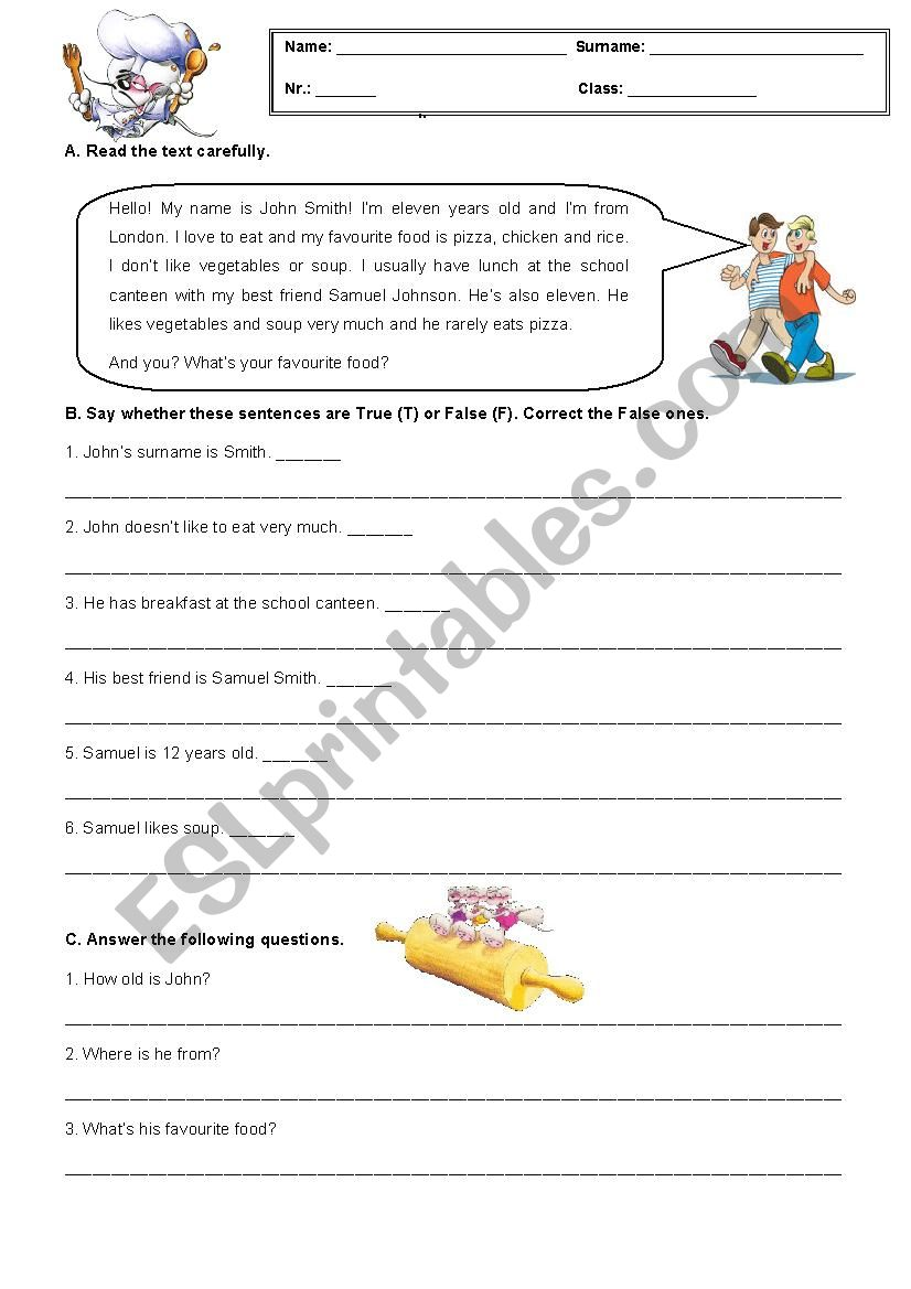 hight resolution of 5th Grade Test about Food - ESL worksheet by AJFC