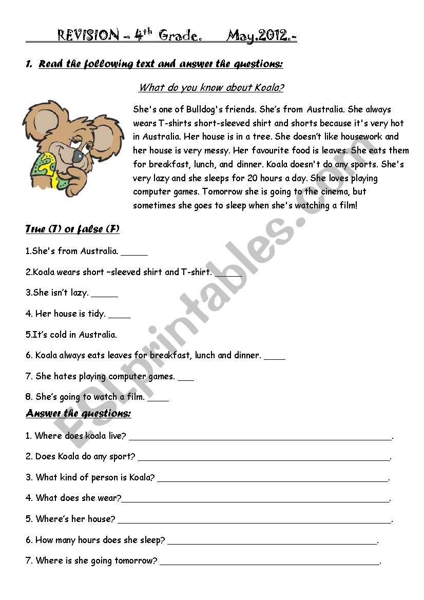 medium resolution of revision 4th grade- happy earth 2 - ESL worksheet by CACHETES