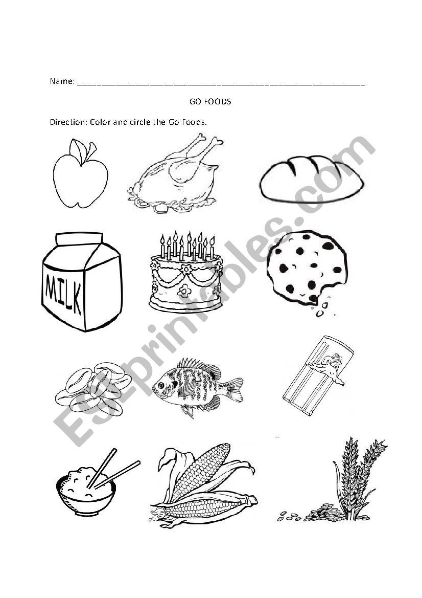 English worksheets: Go, Grow, Glow Foods