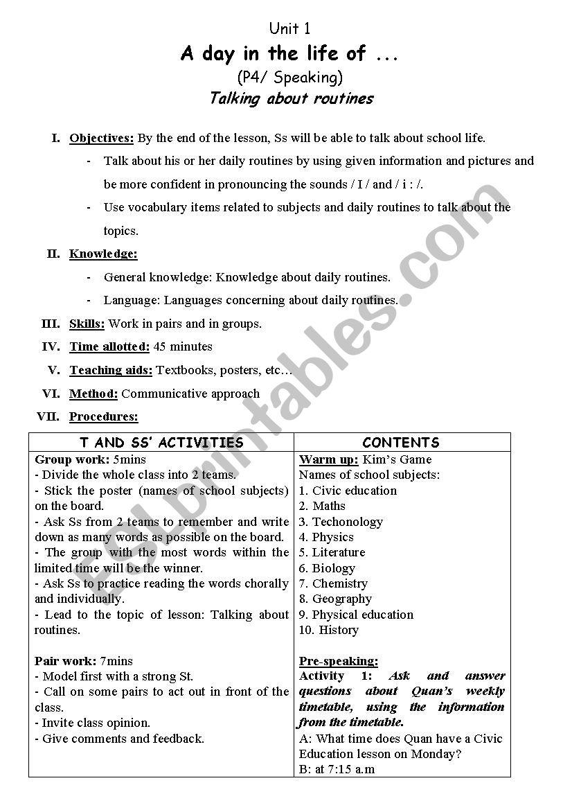 medium resolution of lesson plan grade 10 - unit 1: speaking - ESL worksheet by trangphan_7ht27