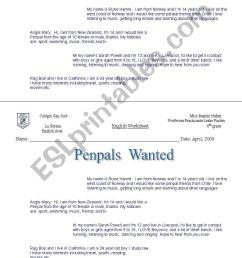 English worksheets: Pen Pal [ 1389 x 838 Pixel ]
