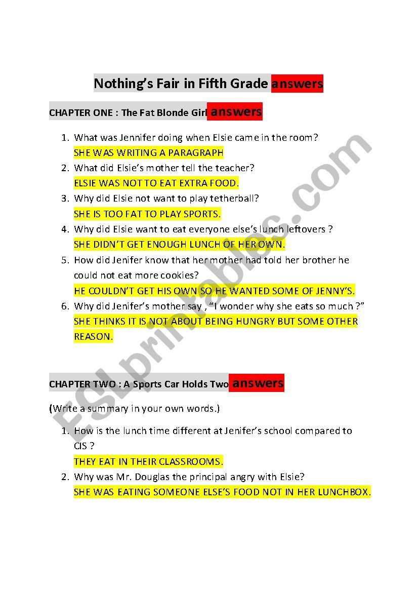 medium resolution of Nothings Fair In Fifth Grade : Chapter Worksheet - ESL worksheet by kentrot