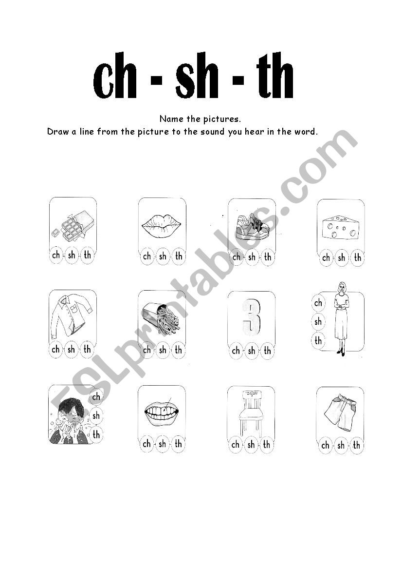 English worksheets: letters digraphs ch sh th