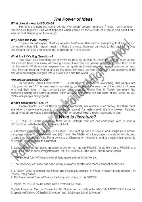 small resolution of English Literature for Grades 9 in Turkey - ESL worksheet by rkal