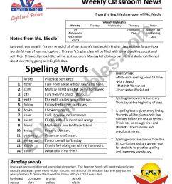 Weekly Newsletter and Homework - Grade 4 - ESL worksheet by nicistout [ 1169 x 826 Pixel ]