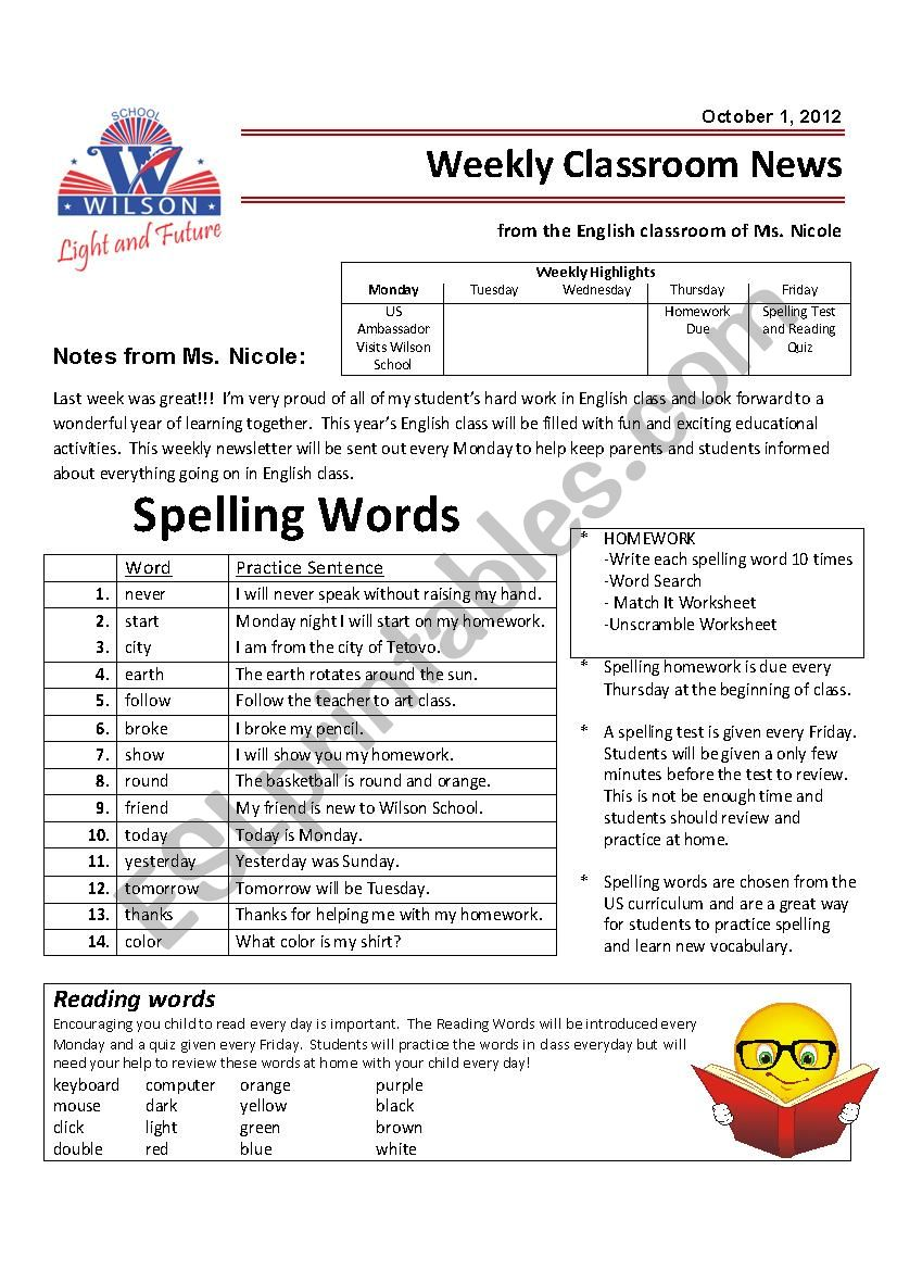 hight resolution of Weekly Newsletter and Homework - Grade 4 - ESL worksheet by nicistout