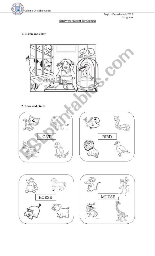 small resolution of animals and adjectives - ESL worksheet by macanu