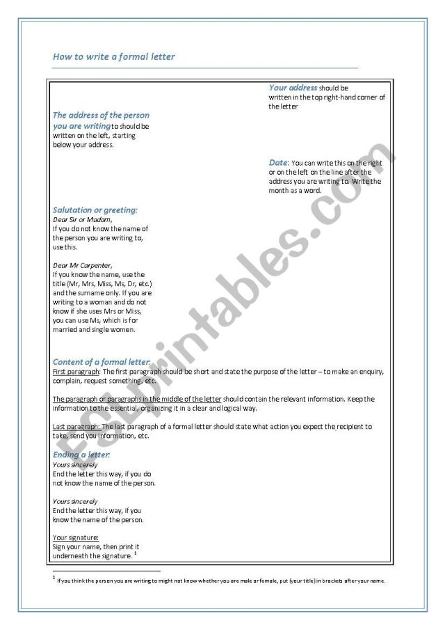 How to write a formal letter - ESL worksheet by teresasimoes