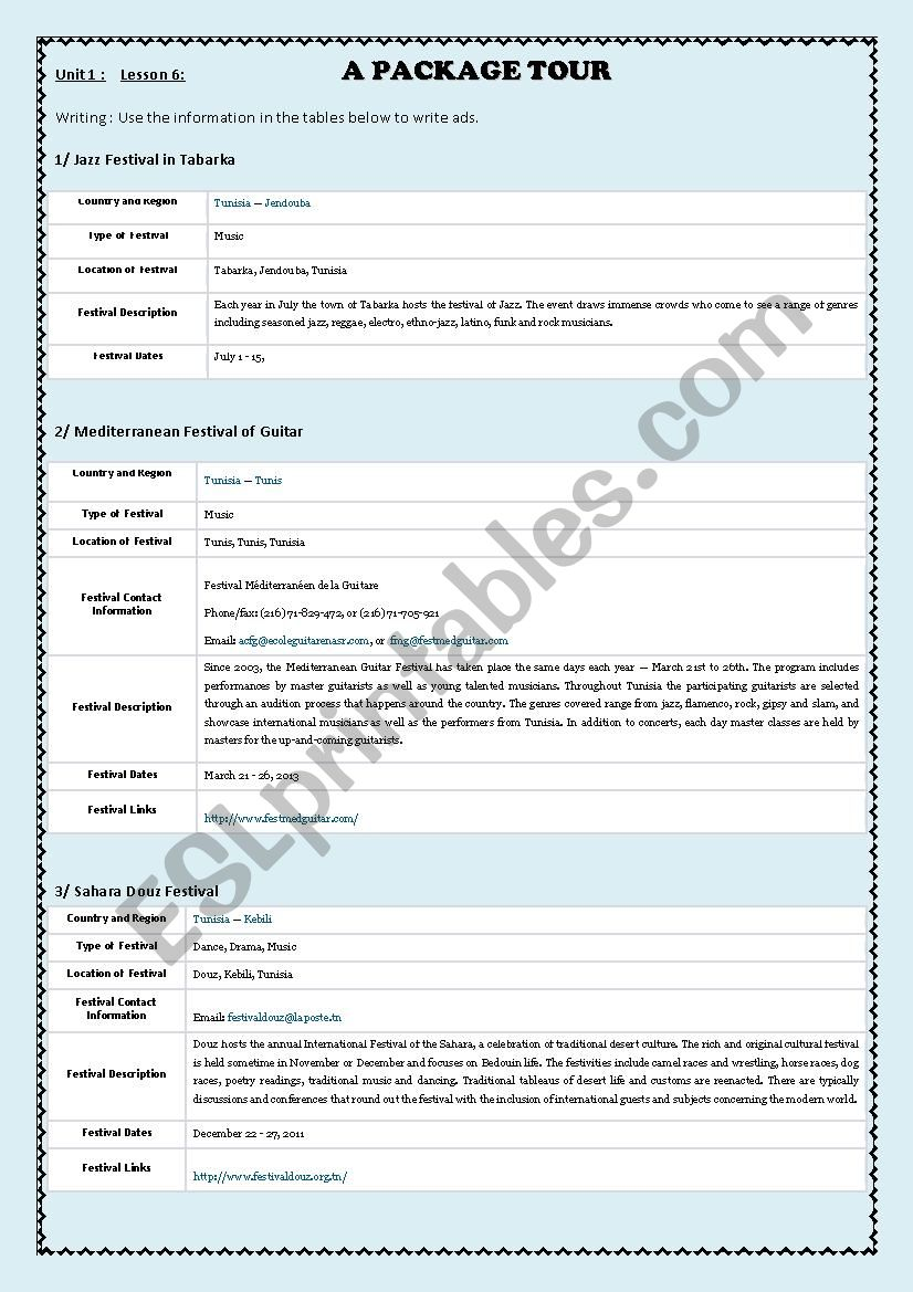 hight resolution of Writing an ad: Festivals in Tunisia - ESL worksheet by hamza youssef kammoun