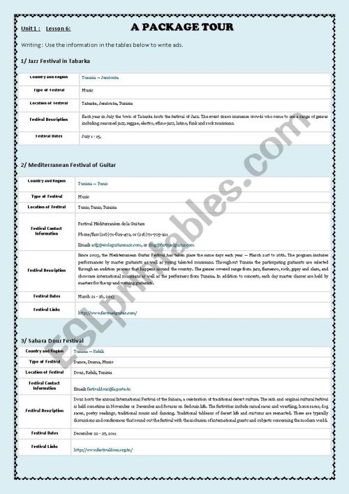 small resolution of Writing an ad: Festivals in Tunisia - ESL worksheet by hamza youssef kammoun
