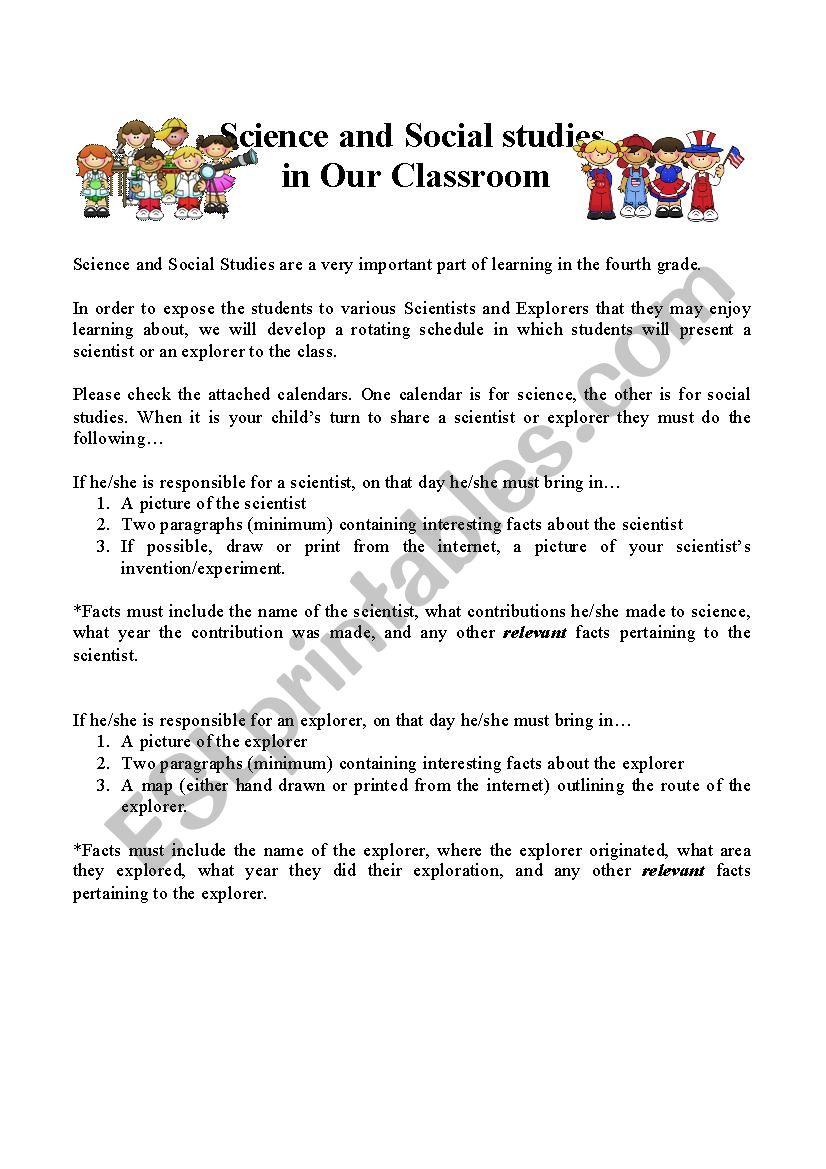 hight resolution of Science and Social Studies in Our Classroom - ESL worksheet by lilone97