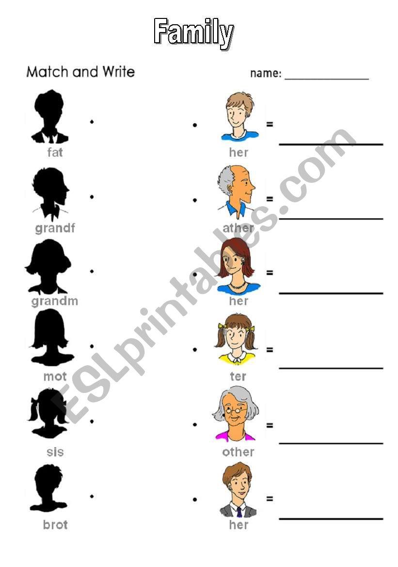 English worksheets: family matching