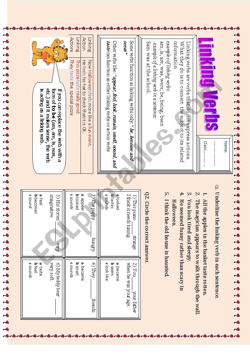 hight resolution of linking verbs - ESL worksheet by sadeel