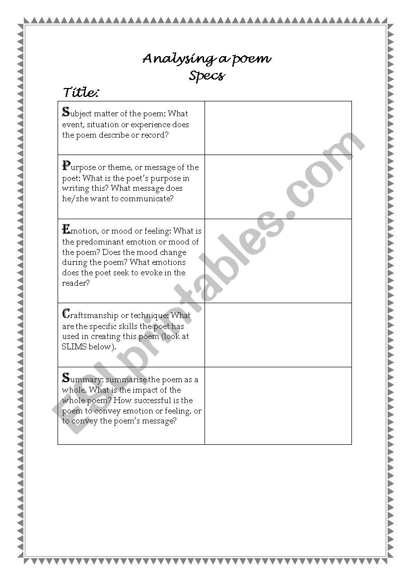 hight resolution of How To Analyze A Poem Worksheet - Promotiontablecovers