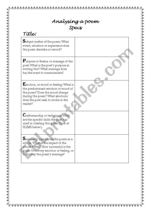 small resolution of How To Analyze A Poem Worksheet - Promotiontablecovers