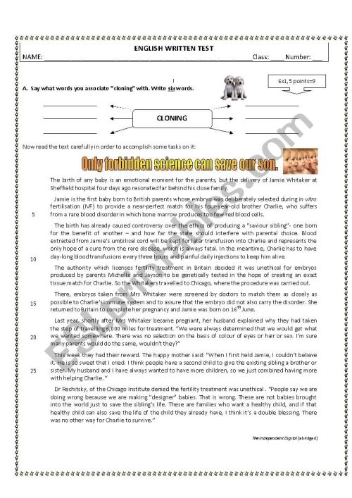 small resolution of 11th Grade Written Test - Genetic Manipulation - ESL worksheet by  cristinaevang