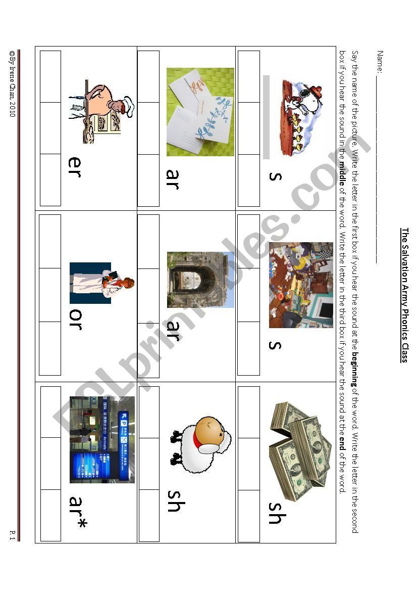 phonics skills- beginning. middle. ending - ESL worksheet by bbcake