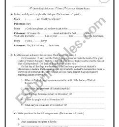 Exam Paper for 9th Grades in Turkey - ESL worksheet by insuavaldez [ 1169 x 826 Pixel ]