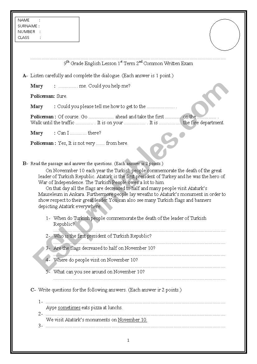 medium resolution of Exam Paper for 9th Grades in Turkey - ESL worksheet by insuavaldez