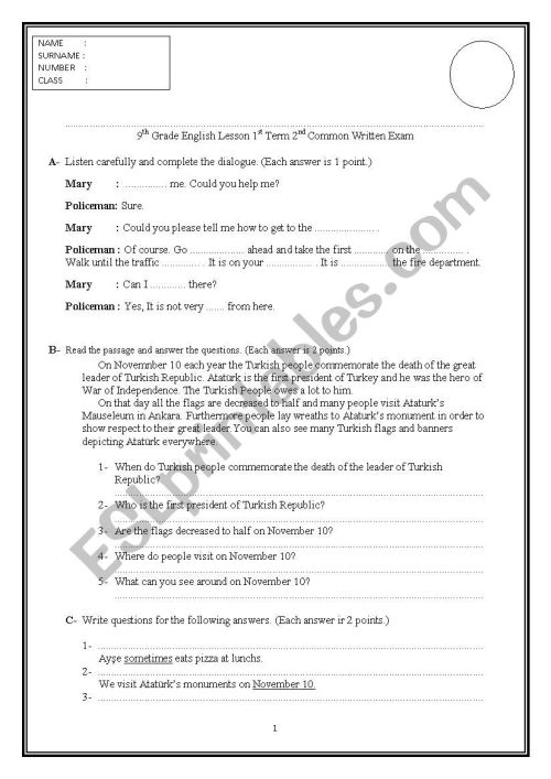small resolution of Exam Paper for 9th Grades in Turkey - ESL worksheet by insuavaldez