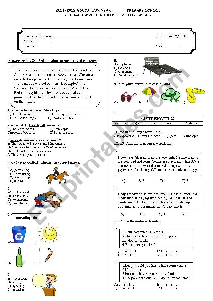 hight resolution of 8th grade 2nd term 3rd exam - ESL worksheet by adrenalin83