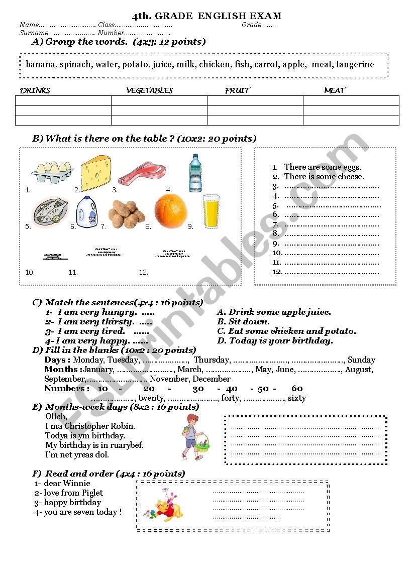 medium resolution of 4th grade sample exam - ESL worksheet by ozlempeh