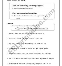 Cause and Effect - ESL worksheet by Dberg [ 1169 x 826 Pixel ]