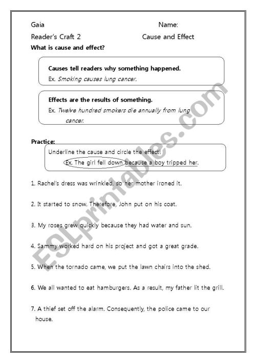 small resolution of Cause and Effect - ESL worksheet by Dberg