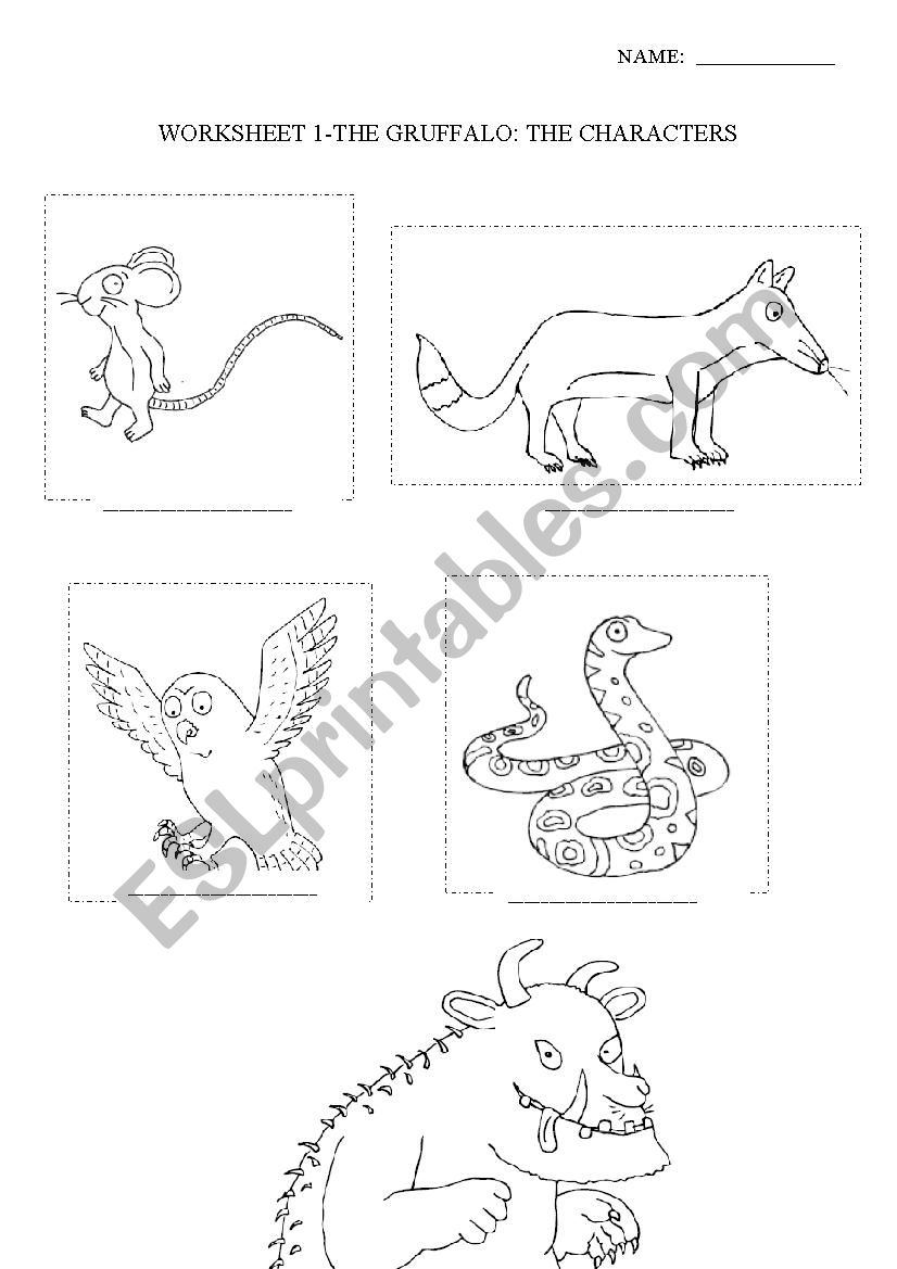 English worksheets: The Gruffalo- Characters