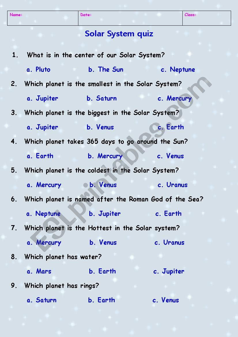 medium resolution of Solar System quiz - ESL worksheet by Tchen_anastassia