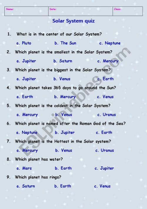 small resolution of Solar System quiz - ESL worksheet by Tchen_anastassia