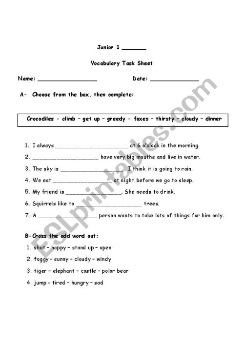 small resolution of Grade 1 Assorted Vocabulary Exercise - ESL worksheet by sarahshalaby