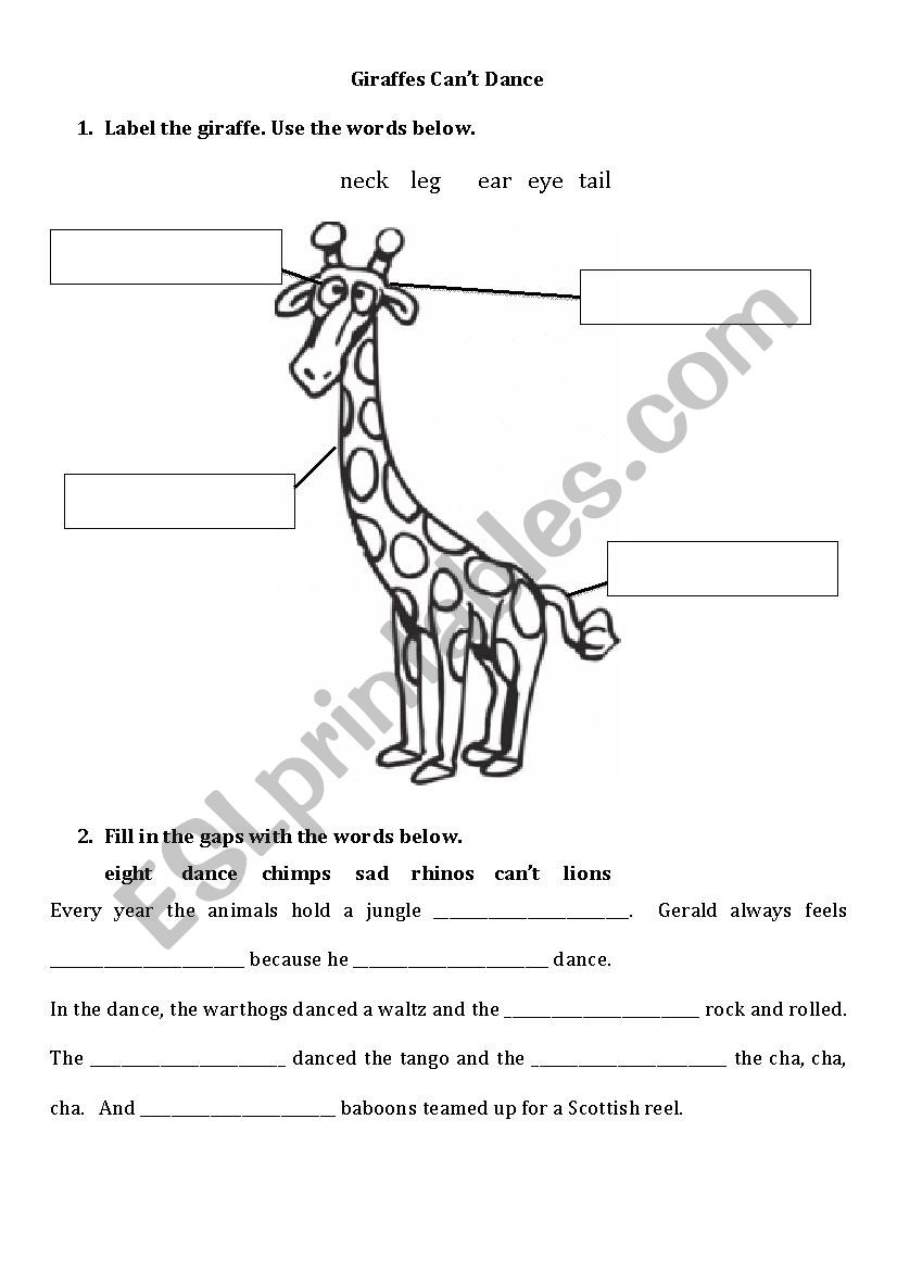 English worksheets: Giraffes can´t dance (II)